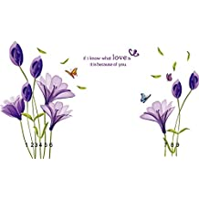 COMVIP Lily Flower Wall Stickers Removable Decal Home DIY Decoration Purple