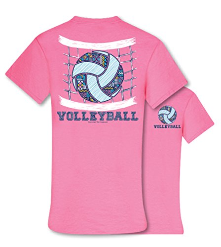 Couturetee Couture Tee Company Aztec Pattern Volleyball Womens Classic Fit T-Shirt - Safety Pink, Large (Aztec Pattern Shirt)