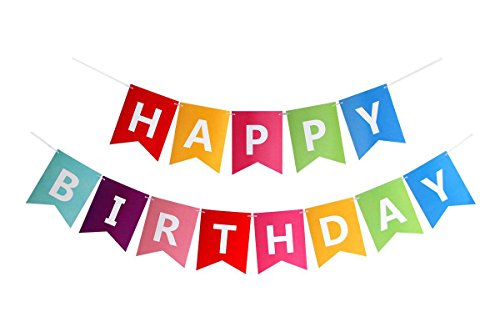 FECEDY Colorful Happy Birthday Banner Bunting -