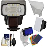 Vivitar DF-852 TTL Auto Flash with LED Video Light with Bounce Reflector + Soft Box + Color Gels + Kit for Sony Alpha Cameras