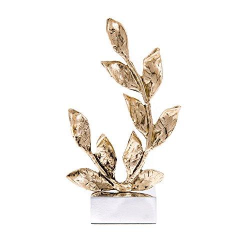 EliteCrafters Stylish Handmade Solid Brass Metal, Laurel Branch Sculpture, Table top Decorative Ornament, 26.5cm (10.5'') ()