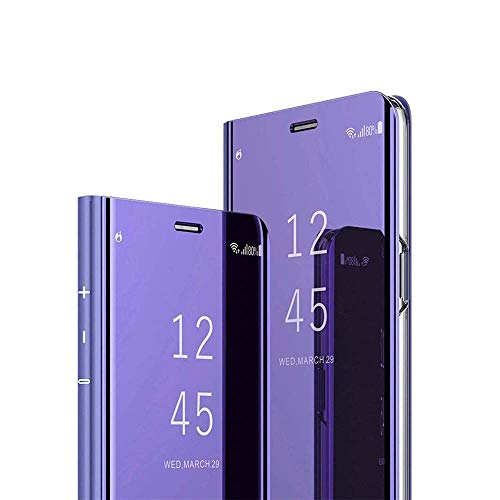 (Case for Samsung Galaxy A10 case Mirror flip Cover Slim Luxury Translucent Cover for Samsung Galaxy A10 Intelligent Mobile Phone (Violet, Samsung Galaxy A10))