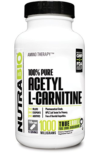 NutraBio 100% Pure Acetyl L Carnitine (1000mg) 150 Vegetable Capsules