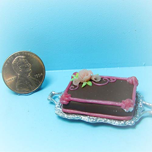 Dollhouse Chocolate Sheet Cake Decorated Pink Roses Piping KL2191 - Miniature Scene Supplies Your Fairy Garden - Doll House - Outdoor House ()