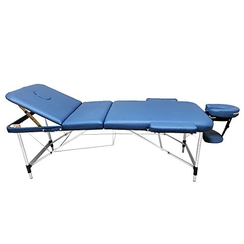 ANGEL USA 3-Section Aluminum 84″L Portable Massage Table Facial SPA Bed Tattoo w/Free Carry Case (Navy Blue)