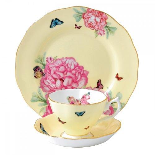 Royal Albert Joy 3-Piece Teacup, Saucer and Plate Set Designed by Miranda Kerr