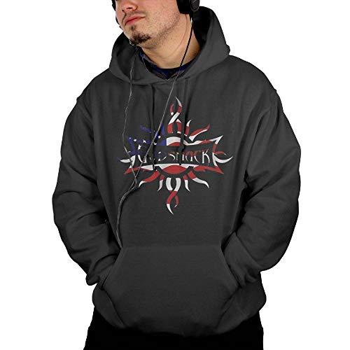 Strividialous Men Godsmack Band US Flag Logo Cotton Black Sweater with Pocket XXL
