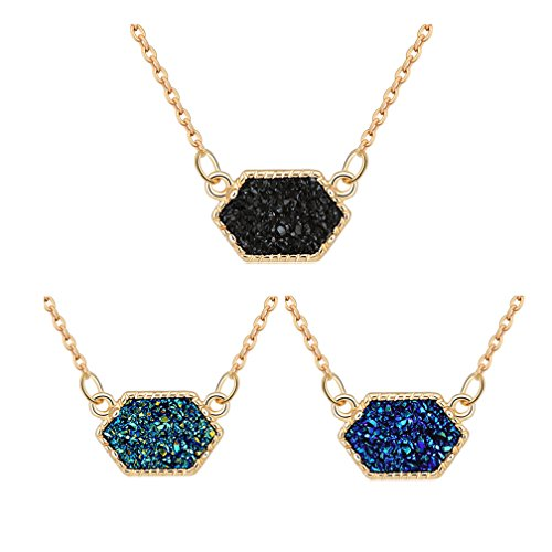 MissNity Fashion Simulated Druzy Necklace for Women Gold Plated Bohemian Vintage Sparkly Pendant Jewelry Mother's Gift (Gold+Black/Green/Blue)