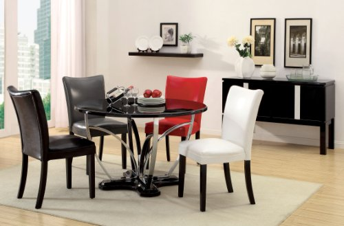 Furniture of America Hayden Round High-Gloss Lacquer Dining Table, Black