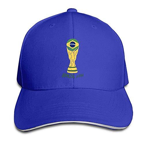 (ONE-HEARTHR Adult Brazil Football 2018 Cotton Lightweight Adjustable Peaked Baseball Cap Sandwich Hat Men)
