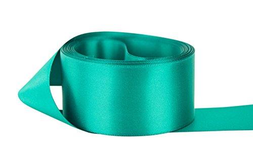 Ribbon Bazaar Double Faced Satin 1-1/2 inch Jade 50 yards 100% Polyester Ribbon Jade Satin Ribbon