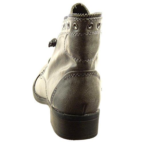 Sopily - Chaussure Mode Bottine Rangers Cheville femmes strass diamant Fermeture Zip Talon bloc 3 CM - Gris