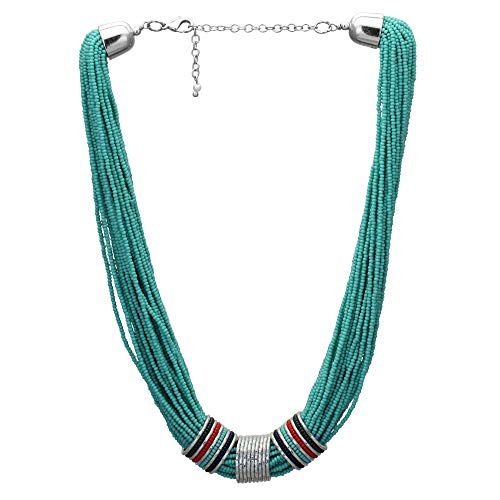 El Allure Multi String Turquoise Preciosa Glass Seed Bead Handmade Cinematic Necklace with Deattachable Multi Colour Glossy Rings with Multi Purpose As Finger Rings for Women (Turquoise)