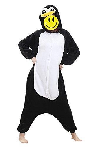 Red Stone Kigurumi Pajamas Penguin Onesie Pajamas Costume Polar Fleece Black/White Cosplay For Adults' Animal Sleepwear Cartoon Halloween Festival (L)
