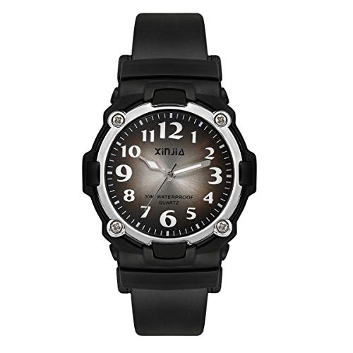 Kids Watch,Child Analog Outdoor Sport Quartz Wristwatch with for Boys Girls Kids Waterproof Watches,Time Teach Watches Color Dial Easy to Read Time for Kids As Gift (Black 113)