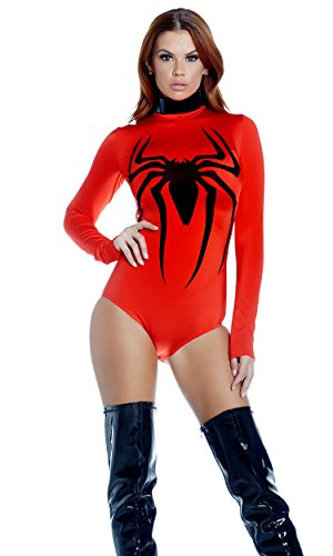 Spider Woman Bodysuit Costume (Forplay Women's Toxic Metallic Bodysuit with Spider Screen Print, Red, X-Small/Small)
