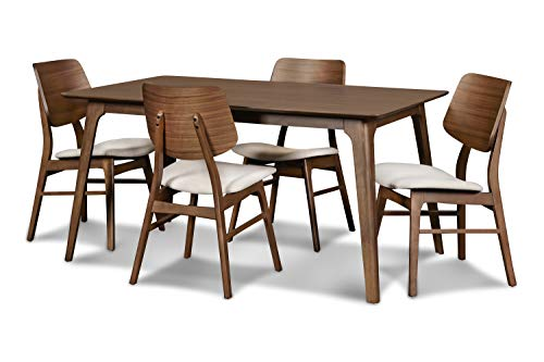New Classic Furniture Mid-Century Modern Oscar 5-Piece Dining Table Set, 60-Inch, Walnut