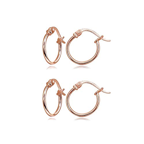 - 2 Pair Set Rose Gold Flash Sterling Silver Tiny Small 12mm High Polished Round Thin Lightweight Unisex Click-Top Hoop Earrings