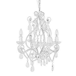 Tadpoles 4-Bulb Vintage Plug-In or Hardwired Mini-Chandelier, White Diamond