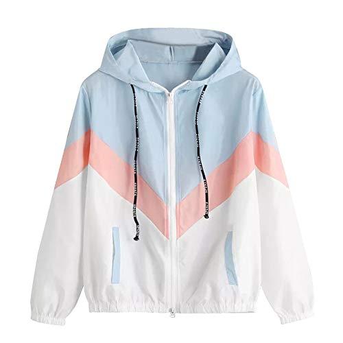 Aniywn 2019 New Women Long Sleeve Patchwork Thin Skinsuits Hooded Zipper Pockets Sport Coat Jacket White (Best Mascara For Length 2019)