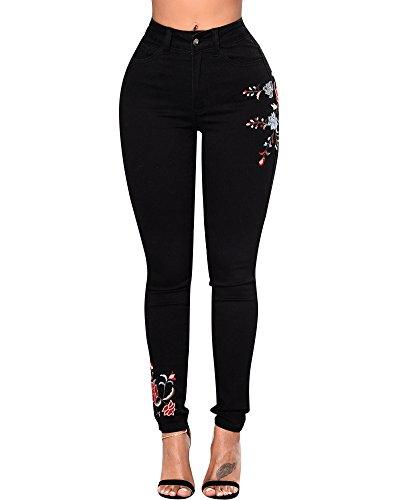 Flacos Vaqueros Pantalones Bordado Negro Leggings Jeans Pantalones Mujer Elástico Mezclilla WpfnFx