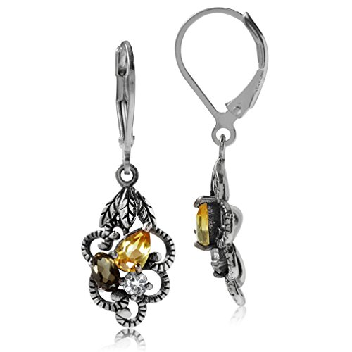 Natural Citrine, Smoky Quartz & White Topaz 925 Sterling Silver Leaf Leverback Dangle Earrings