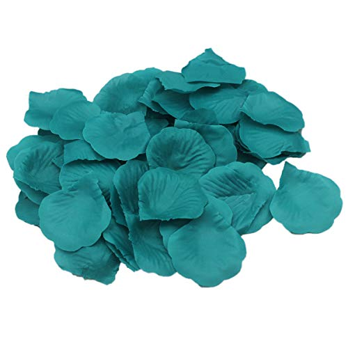 ALLHEARTDESIRES Teal Rose Flower Petals Wedding Table Confetti Bridal Shower Party Favor Decoration (1,000) (Teal Green Roses)