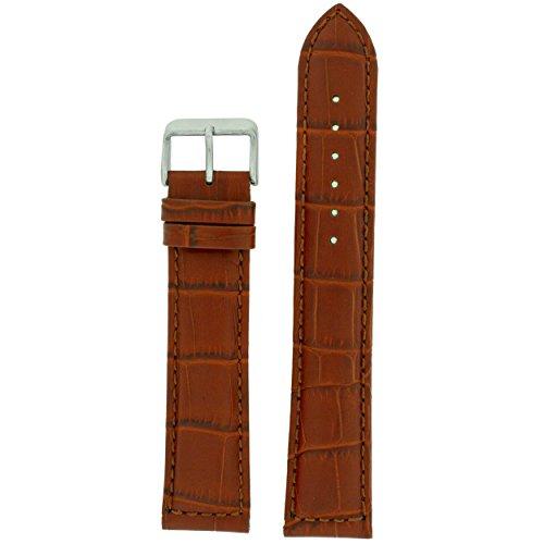 Watch Band Genuine Leather Extra Long Honey Brown Alligator Grain 24 millimeter Tech - Brown Strap Alligator Watch Genuine