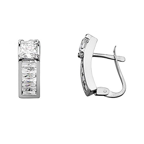 Boucled'oreille 18k or blanc zircone cubique 4mm ferroviaire griffe. [AA5823]