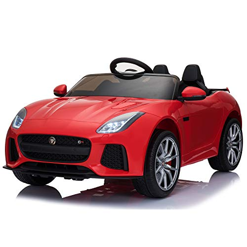 - Aosom 12V Jaguar F-Type SVR Kids Battery Powered Ride On Car Double seat Double Door MP3 Music W/ Remote Control- Red