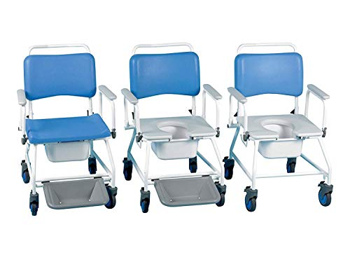 Homecraft Atlantic Bariatric Commode Shower Chair, 560 mm with Footrests, Wheeled Bathroom Chair for Elderly, Disabled, Handicapped, Bathroom Aid for Mobility and Convenience, Hygenic and Durable from Patterson Medical