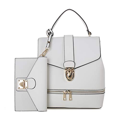 - Fashion Casual Faux Leather Shoulder Bag Mini Backpack School Bag for Women 2pc | White
