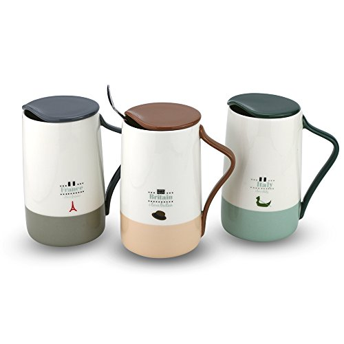 Light Blue Dinnerware - Fine Bone China Coffee Mug 15 oz Fashion Tea Cup for Home Office (lightblue, single)