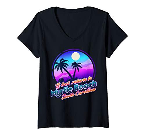 Womens Myrtle Beach South Carolina Nocturnal Beach V-Neck T-Shirt (Fl To Sc Beach Orlando Myrtle)
