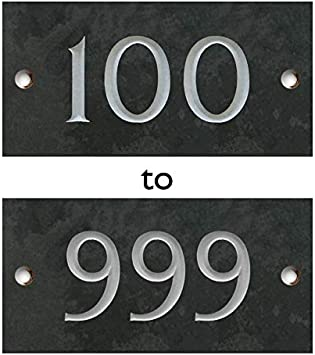 /'13/'  Slate House Number Door Plaque Sign With Capped Screws