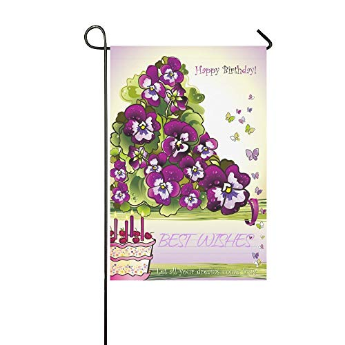 Pingshoes Happy Birthday Wish Quote Long Polyester Garden Flag Banner 12 x 18 inch, Spring Purple Flower Floral Decorative Flag for Wedding Anniversary Home Outdoor Garden Decor]()
