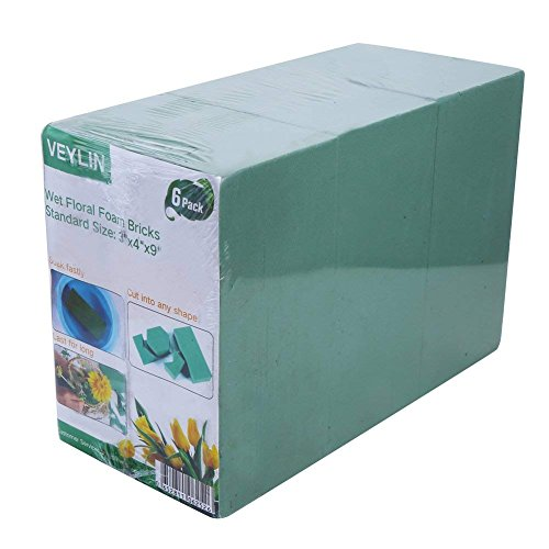 Pack of 6 Wet Floral Foam Bricks Green Styrofoam Blocks for Floral Arrangement by - Green Oasis