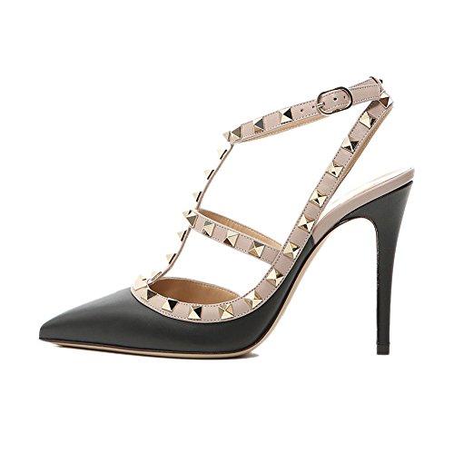 Strap Pointu Goujons Sangles Sandales Robe Cloutées Cour Formelle Mode Bout Chaussures Parti Haute Talon Black Matte 35 UE 45 Pan Nude Cheville Femmes Stiletto Caitlin xO8zwqS6YF