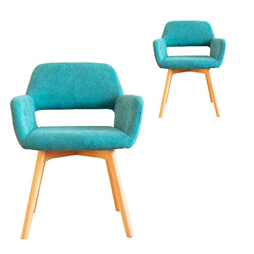 Lansen Furniture (Set of 2) Modern Living Dining Room Accent Arm Chairs Club Guest with Solid Wood Legs (Sapphire)