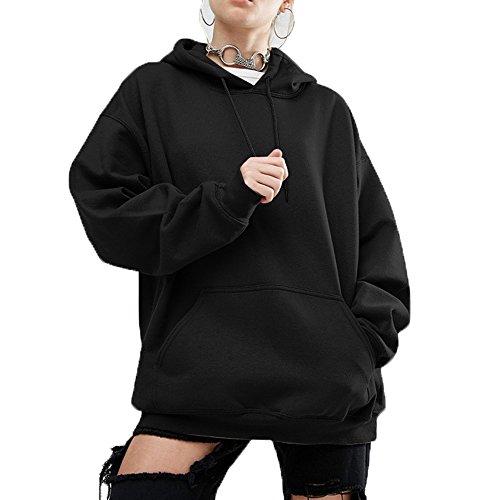Menglihua Womens Fashion Plus Size Batwing Sleeve Oversized Pullover Sweatshirt Hoodies Black Medium
