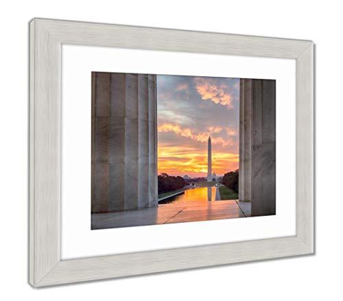 Ashley Framed Prints Brilliant Sunrise Over Reflecting Pool Dc, Wall Art Home Decoration, Color, 26x30 (Frame Size), Silver Frame, AG5580154