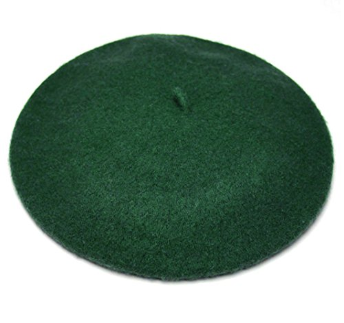 Joyhy Women's Solid Color Classic French Style Beret Beanie Hat Dark Green ()