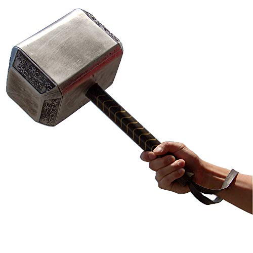 (Avengers Endgame 17 Inch Large Adult Size Thor's Hammer PU Foam Thunder Hammer Toy Collectors Cosplay Prop Fancy Replica Weapon Silver Grey)