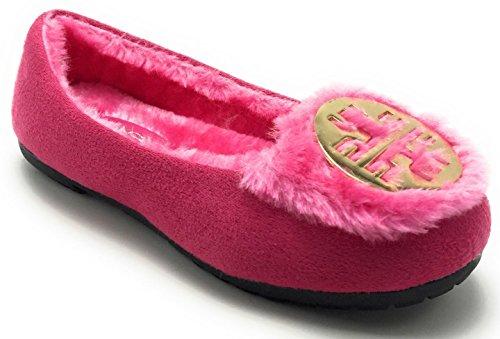 Girls Kids Warm Winter Comfortable Fur Moccasin Round Toe Slip on Flat Shoe Fuchia /G1321 pFccA