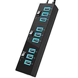 USB 3.0 Hub, Hhusali USB 3.0 SuperSpeed 10-Port Hub with Power Switches ,LED indicator and Power Adapter