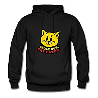 Long-sleeve Chic Cat_smile_now_cry_later_t3 Cotton Hoody X-large Women Black