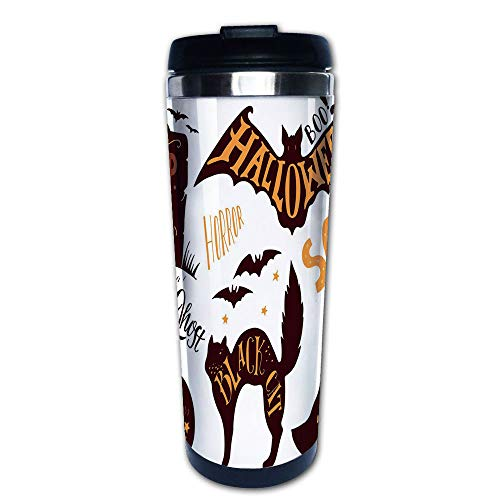 Stainless Steel Insulated Coffee Travel Mug,Symbols Trick or Treat Bat Tombstone Ghost Candy,Spill Proof Flip Lid Insulated Coffee cup Keeps Hot or Cold 13.6oz(400 ml) Customizable printing