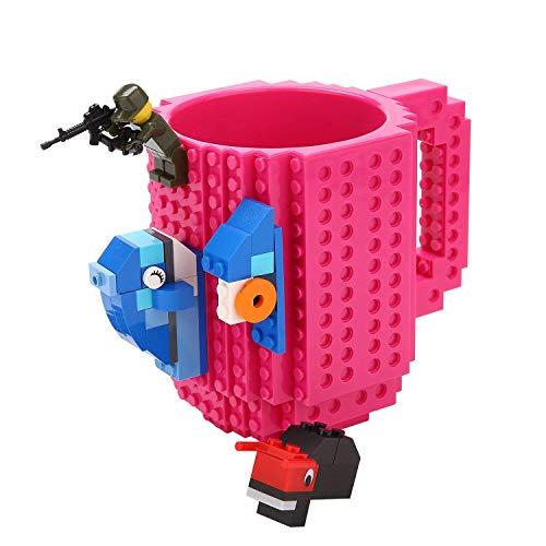 Brick Mug [Updated Version] Fubarbar 12 oz Build-on Coffee Cups Funny Tea Mug Beverage Cup Puzzle Mug Building Bricks enjoy Creative DIY Building Blocks (Rose) ...