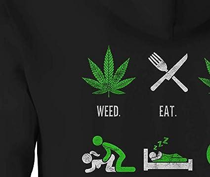 Zip Up Hoodie Weed Eat Sleep 420 Hooded Sweatshirt for Men