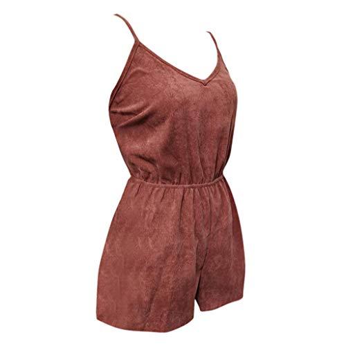 Psunrise Mono Women Fashion Causal Adjustable Strap V-Neck Elastic Waist Sleeveless Short Camis Jumpsuit(L, Black) by Psunrise (Image #5)